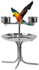Olpchee Stainless Steel Bird Play Stand Parrot Playstand Pet Bird Tray Feeder wi