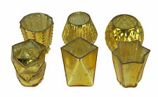 Metallic Mercury Glass Votive Candle Holders Set of 6 in Assorted Shapes