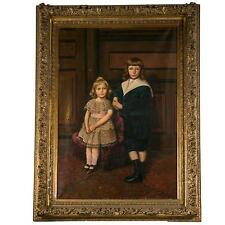 Palatial Oil on Canvas of a Portrait of Siblings Signed J. Peellaert 101-2316
