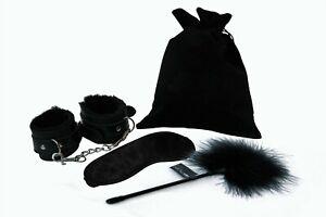 Lovetwoo Sensual Play Kit | Beginners Bondage Set Handcuffs, Blindfold, Tickler