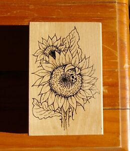 Sunflower Ladybug Wood Mounted Rubber Stamp 1995 by Stampendous! # P024