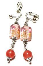 Long Silver Style Agate Clip-On Earrings Gemstone & Glass Bead Drop Dangle