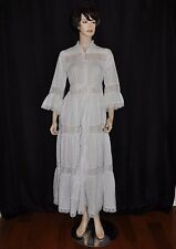 Vtg David Brown Sakowitz Long White Eyelet Lace Dress Hippie BoHo Belt Wedding L