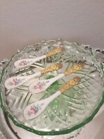 4 PORCELAIN CONDIMENT MARMALADE SPOONS Ladies Tea Cup Party Lot Set Vtg Floral