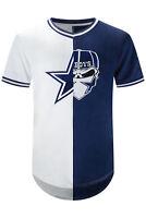 New Men Cowboys Blue White Skull Bandanna Jersey Longline Sizes M-2XL