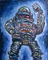 Control ROBOT 8x10 canvas Mech art painting retro original signed CROWELL