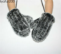 Women's Real Rex Rabbit Fur Winter Warm Knitted Gloves Mittens w/hanging string