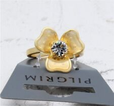 Anillo Ajustable peregrino Flor Floral Cascada Silken oro y claro Swarovski BNWT