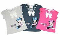 Girls Kids MINNIE MOUSE T-Shirts Kids Disney Tee Sequin Bow Pink Top New Age 2-8