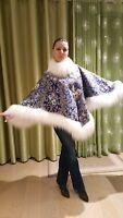 Handmade Women's Exclusive Luxury Poncho (from Russian Pavlovo Posad shawl)
