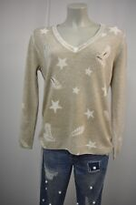 NC NICE CONNECTION Damen Pullover M Taupe-Weiß m.Merinowolle Kaschmir  TOP *178