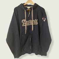 Official NFL New England Patriots Navy Zip Up Spell Out Hoodie - Size Medium