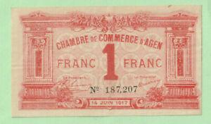 FRANCE - Chambre De Commerce d'AGEN 1 Franc Note - 1917 GVF - XF Rare - LOOK!