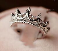 Fashion Princess Silver Plated Rhinestone Crown Ring US Size 5 6 7 8 9 New