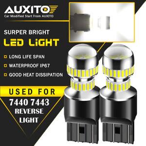 2X 7443 7440 LED White Extreme Bright Tail Brake Stop Light Bulbs 2400LM 54H EOA