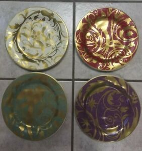 """Pottery Barn Decorative 9"""" Round Jewel Plates, Set of 4 - Gold Accent NEW IN BOX"""