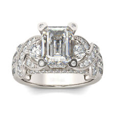 Ring 14k White Gold Finish 2.00cts Emerald Cut Knot Sterling Silver