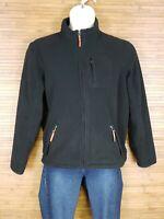 Eddie Bauer Black Full Zip Fleece Jacket Womens Size XL EUC