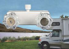 "4"" Shower Faucet RV Marine White Travel Trailer Camper Clear Handles Diverter"