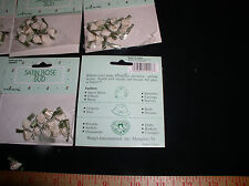 """0.25"""" Ivory Ribbon Rose Buds ,with Leaves, 6-Packages with 10 Roses per Pack"""