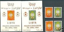 THE WORLD UNITED AGAINST MALARIA 1962 LIBYA  set+blocks