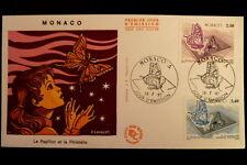 MONACO PREMIER JOUR FDC YVERT  1587/88     LE PAPILLON       2,50+3,40F   1987