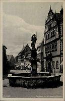 Kronach Bayern s/w Ansichtskarte ~1940 Rathaus mit Michaels Brunnen ungelaufen