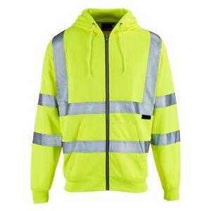 *PREMIUM* Hi Viz Vis Hoodie Work Wear Safety Hooded Security Reflective Zipper