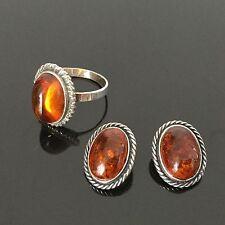Bague T55 Boucles D'Oreille en Argent Cabochon Ambre Amber Silver Earrings Ring