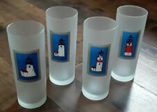 Set of 4 lighthouses Dartington Designs Frosted Highball/Ice Tea Glasses