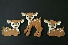 3 handmade deer Embellishments.felt Die cuts, card toppers ideal for buntings