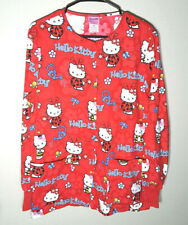 Hello Kitty Ladybug Lab Coat | Long Sleeve Scrub | Official Anime | Womens XS