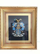 Antique Vintage  Framed Embroidered Heraldic Masonic  Coat Of arms