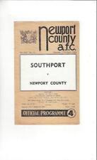 Newport County v Southport 1963/64 Football Programme