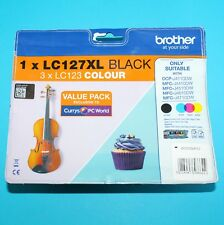 GENUINE ORIGINAL BROTHER LC127XL Black & 123 Tri-Colour Ink Cartridge -Multipack