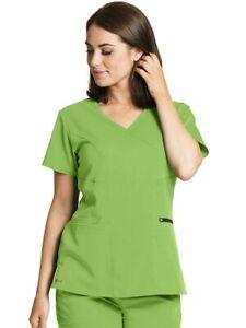 Grey's Anatomy 5XL Scrub Top Spandex Surplice Kiwi Green NWT 3 pocket stretch