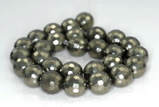 """16MM PYRITE GEMSTONE FACETED ROUND LOOSE BEADS 15.5"""""""
