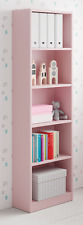 Leo 5 Tier Shelf Bookcase Childrens Bedroom Pastel Pale Pink Melamine