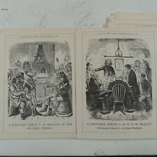 "7x10"" punch cartoon 1858 A DISCUSSION FORUM french neighbours , double page"