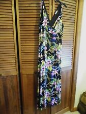 JENIFER LOPEZ SZ. 2X FLOWERED LONG HALTER DRESS, WORN, EXCELLENT CONDITION,