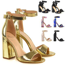 Womens High Block Heel Sandals Ladies Open Toe Party Shoes Buckle Strap Size 3-8