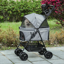 More details for pawhut dog stroller pet pushchair one-click fold trolley adjustable canopy grey