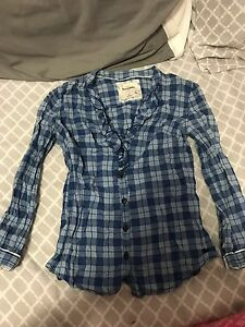 abercrombie kids plaid blouse med