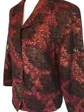 NEW Chico's SZ 3 Floral Raina Jacket Black Cherry Button Up Long Sleeve Red Gold