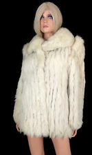 Saga BLUE FOX FUR COAT Short Jacket Vintage 80s Ivory / White Shadow sz M