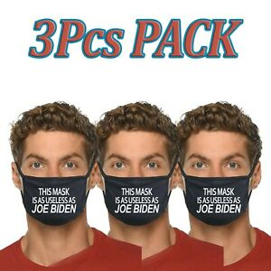3pcs This Mask Is As USELESS As Joe Biden Funny Face Mask Fabric Cotton Cover