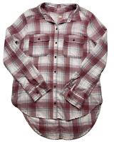 Hollister Flannel Shirt Women's Size S Pink Plaid Long Sleeve Button Shirt Tunic