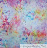 BonEful Fabric FQ Cotton Quilt White Rainbow Batik Art Watercolor Aqua Blue Pink