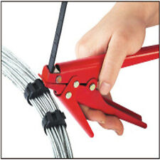 Red Portable Steel Plastic Nylon Cable Tie Gun Tensioning Cutting Tool Fastener