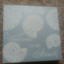 Welcome To The Beach Decor Frame Size 12in X 12 In Light Blue